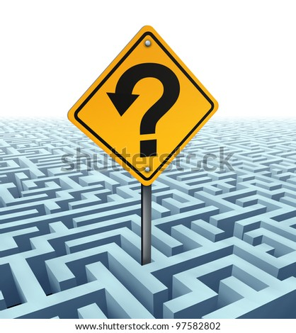 Questions searching for solutions as a yellow traffic sign with an arrow shaped in a question mark on a confusing complex dimensional maze and labyrinth fading in perspective to a white background. - stock photo