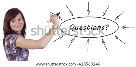 Questions - young businesswoman drawing information concept on whiteboard.  - stock photo