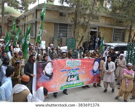 QUETTA, PAKISTAN - FEB 29: Sunni Tehreek are  protesting in favor of Mumtaz Qadri, an ex-police guard who had in January 2011 killed a former governor of Punjab on February 29, 2016 in Quetta. - stock photo