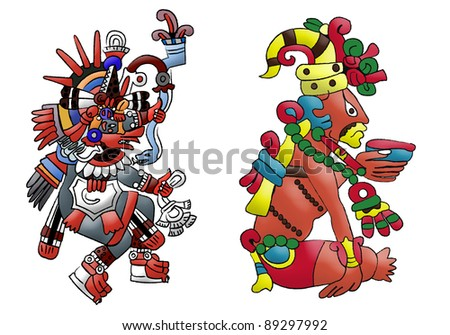 Quetzalcoatl mayan - aztec deity isolated on white - stock photo