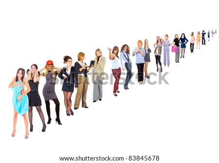 Queue Adults Career - stock photo