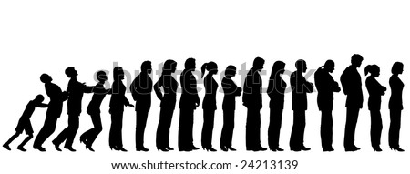 Queue of people silhouettes with boy pushing them like dominoes (vector file also available) - stock photo