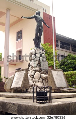 QUEZON CITY, PH - OCT. 8: University of the Philippines Oblation statue on October 8, 2015 in Diliman, Quezon City. University of the Philippines is a coeducational, research state university. - stock photo