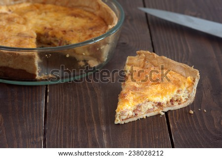 quiche with sausage - stock photo