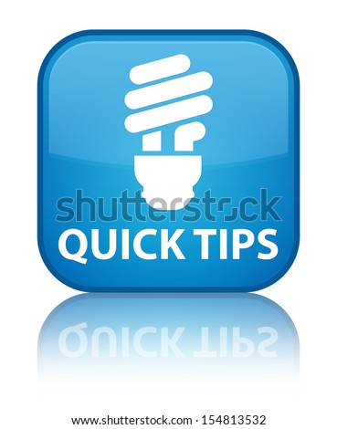 Quick tips (bulb icon) glossy blue reflected square button - stock photo