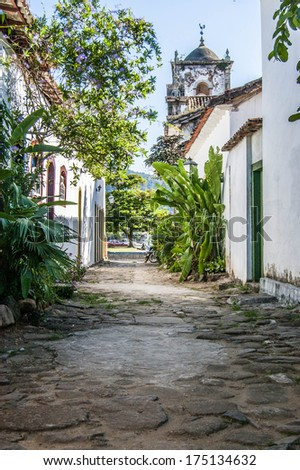 Quiet alley in old town in Brazil - stock photo