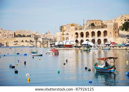 Quiet bay in Valetta - stock photo