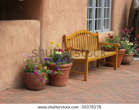 Quiet Bench, Santa Fe, NM - stock photo