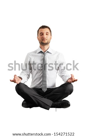 quiet businessman practicing yoga. isolated on white background