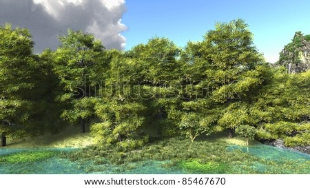 Quiet Forest illustration - stock photo
