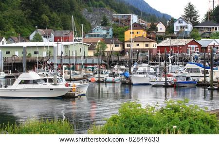 Quiet harbor in Ketchikan, Alaska - stock photo