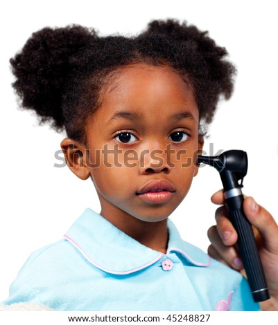 Quiet litlle girl during a medical visit - stock photo