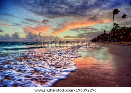 Quiet moment on the sea coast with distant palm trees and amazing colors - stock photo