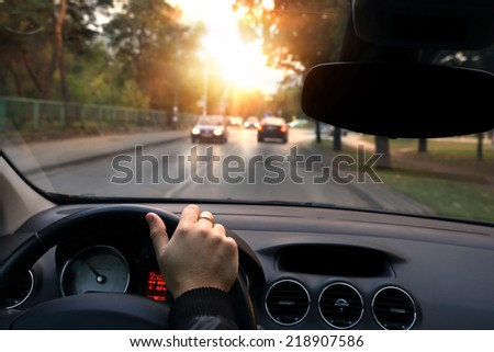 Quiet ride in autumn day through the streets - stock photo