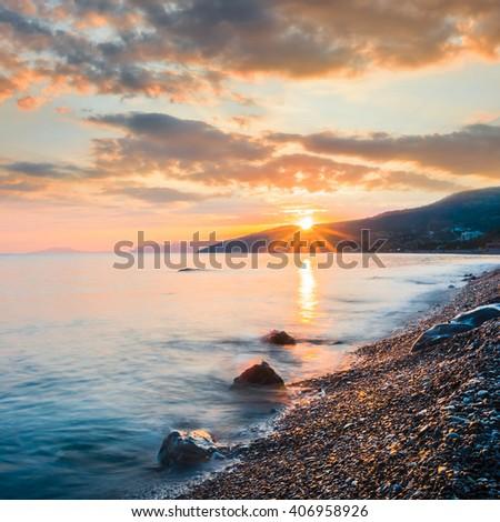 quiet sea coast at the early morning - stock photo