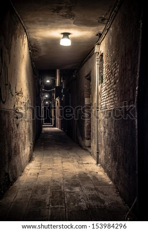quiet venice alley at night - stock photo