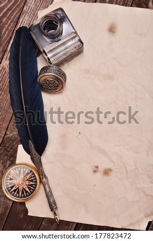 quill ink - stock photo