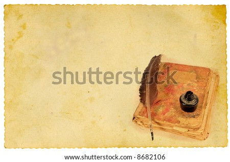 Quill, ink and old book on vintage paper - stock photo