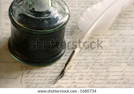 Quill pen with old-fashioned inkwell, and background of 19th Century handwriting - stock photo