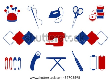 Quilt, Patchwork Tools for do it yourself crafts, hobbies: pincushion, needle, iron, scissors, bobbins, fabrics, sewing machine, safety pins, rotary blade cutter, ironing board, seam ripper, thread.   - stock photo