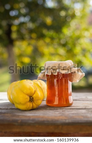Quince jelly in jar with fruit, outdoors - stock photo