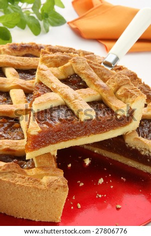 "Quince pie, cut, Italian and Argentine recipe called ""pasta frola"""