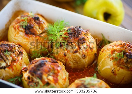 quince stuffed with meat sauce baked - stock photo
