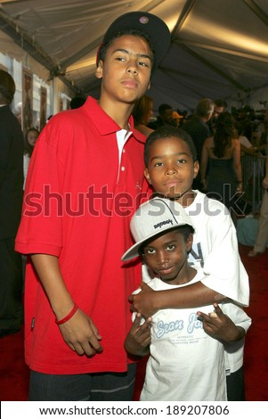 Quincey, Justin, Christian Combs at THE BAD NEWS BEARS World Premiere, The Ziegfeld Theatre, New York, NY, July 18, 2005