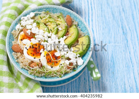 Quinoa bowl for healthy breakfast - stock photo