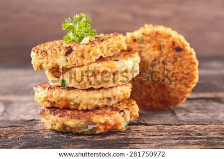 quinoa cake with vegetables - stock photo