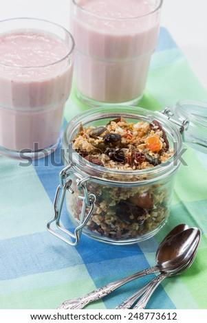 Quinoa granola with berries smooth drinks - stock photo