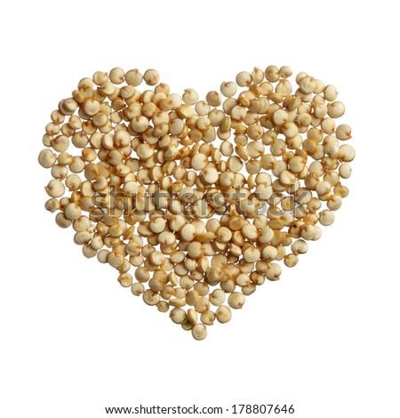 Quinoa heart isolated on white background - stock photo