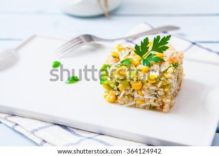 Quinoa salad with rice and sweet corn - stock photo