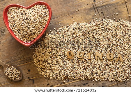 quinoa seeds in a Red heart shaped bowl
