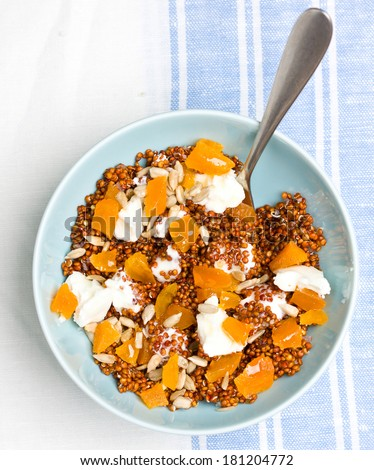 Quinoa with dried apricots and goat cheese - stock photo