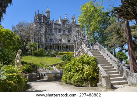 QUINTA DA REGALEIRA - SINTRA - PORTUGAL, April 27, 2014: it's considered one of the principal tourist attractions of Sintra. Surrounded by a luxurious park that features exquisite constructions.