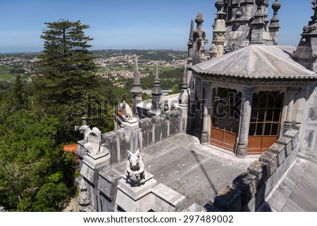 QUINTA DA REGALEIRA - SINTRA - PORTUGAL, April 27, 2014: it's considered one of the principal tourist attractions of Sintra. Surrounded by a luxurious park that features exquisite constructions.  - stock photo