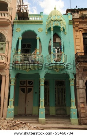 Quirky green house in havana - stock photo