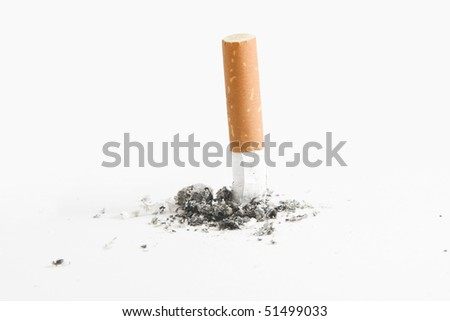 Quit smoking - cigarette butt, smoking concept, over white - stock photo