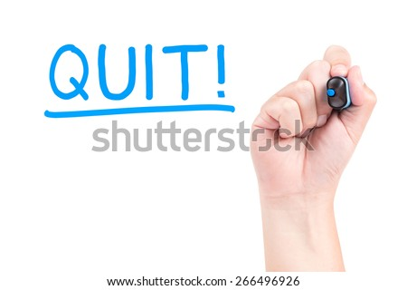 Quit with hand and blue marker - stock photo