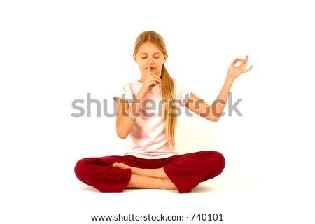 quite yoga in progress - stock photo