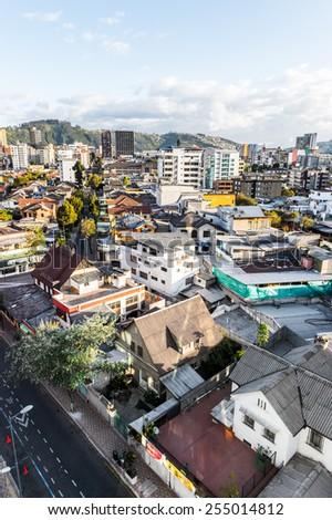 QUITO, ECUADOR - JAN 1, 2015: Architecture of Quito, Ecuador. Quito is the capitalof Ecuador, and  the highest capital city in the world (2800m). - stock photo