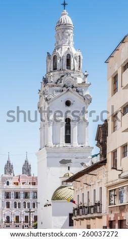QUITO, ECUADOR - JAN 1, 2015: Architecture of the historic center of Quito. Historic center of Quito is the first UNESCO WOrld Heritage site - stock photo