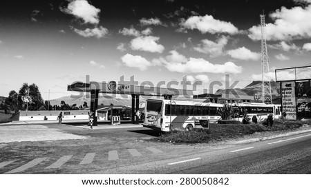QUITO, ECUADOR - JAN 1, 2015: Gasoline station in Quito, Ecuador. Quito is the capital of Ecuador, and  the highest capital city in the world (2800m). - stock photo