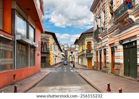 QUITO, ECUADOR - OCTOBER 29, 2012: Street in the Historic District of Quito on October 29, 2012, Ecuador - stock photo