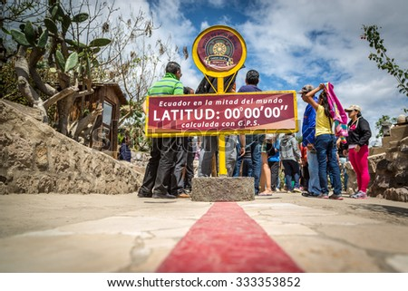 Quito, Ecuador - 15th August 2015 - The famous Ecuador line marking the division between the south and north hemisphere in Quito, capital of Ecuador, South America