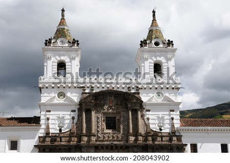 Quito - the capital of Ecuador. Quito is a beautifllly set city, packed with historical monuments and architectural treasures. The picture present view on the church and convent of San Francisco - stock photo