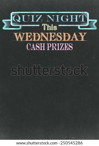 Quiz Night Chalkboard - stock photo