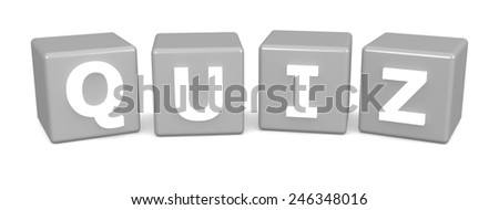 Quiz text on cubes isolated on white background - stock photo