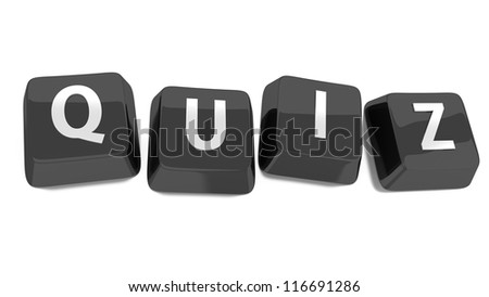 QUIZ written in white on black computer keys. 3d illustration. Isolated background. - stock photo